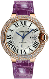 Cartier Ballon Blue Srebrny/Skóra Ø42 mm WJBB0031