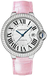 Cartier Ballon Blue Srebrny/Skóra Ø42 mm WJBB0032