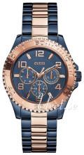 Guess Sporty Niebieski/Stal w kolorze różowego złota Ø40 mm