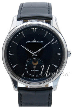 Jaeger LeCoultre Master Ultra Thin Moon Stainless Steel Czarny/Skóra Ø39 mm